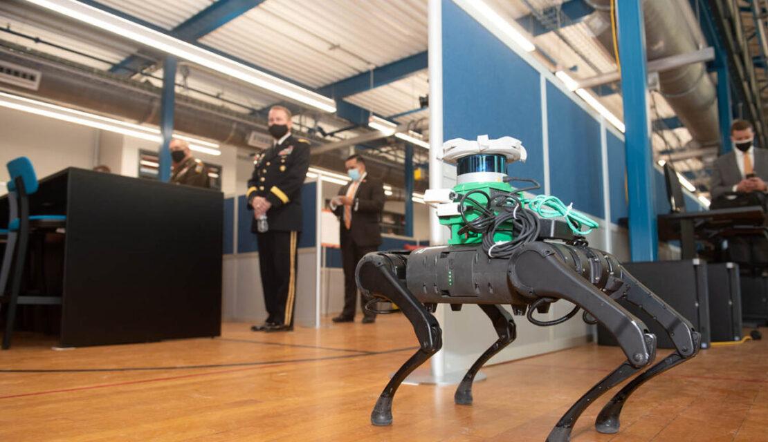 Robot walking across a floor