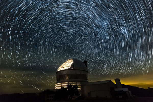 The McDonald Observatory under the bright stars of West Texas.