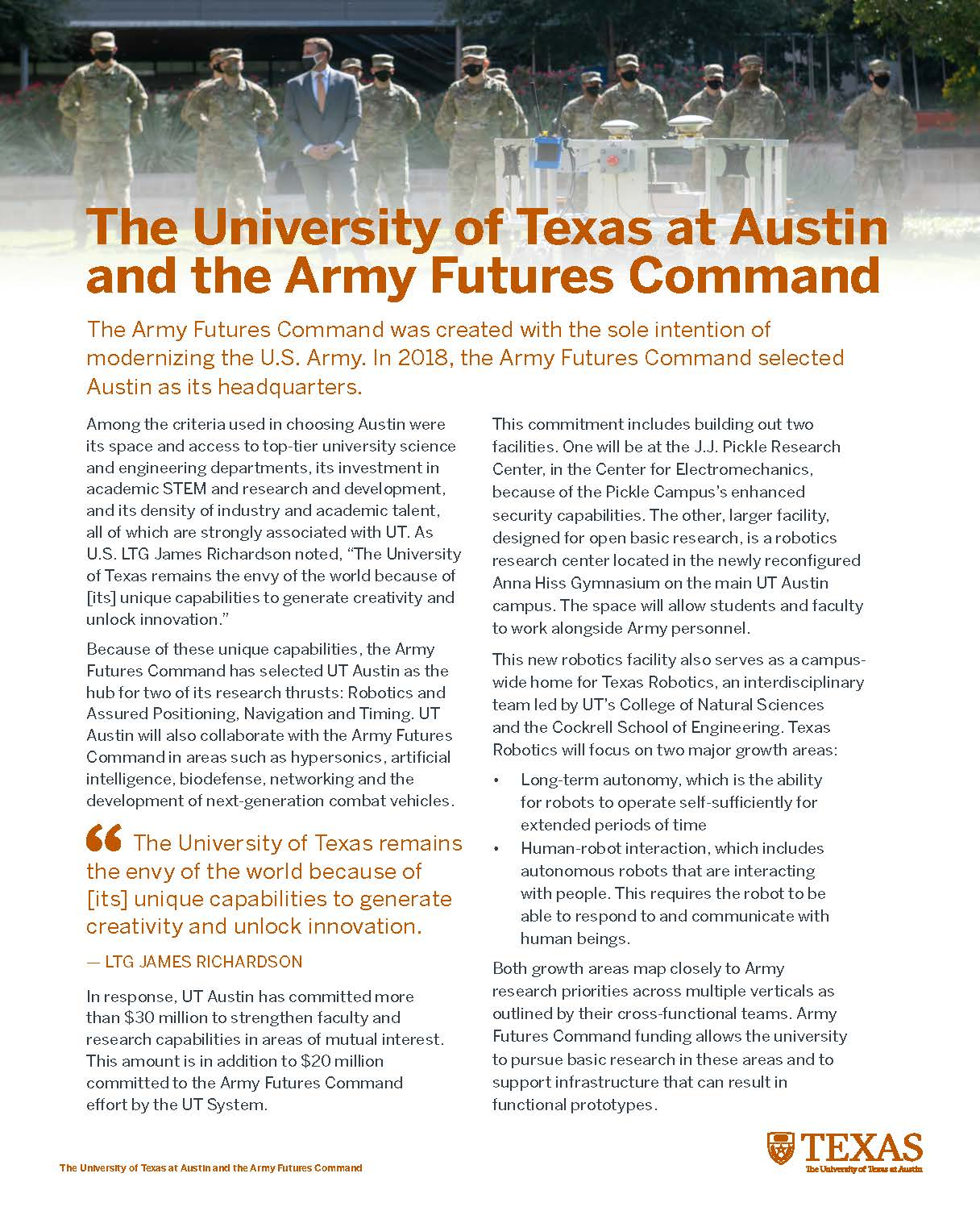 "Screenshot of ""The University of Texas at Austin and the Army Futures Command"" handout"
