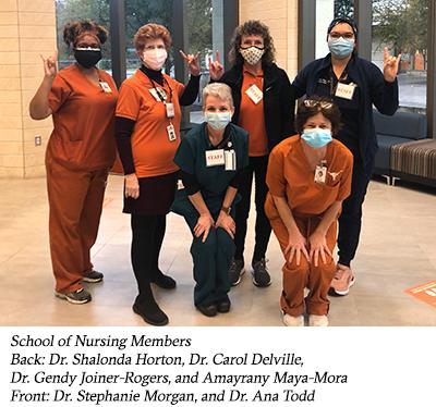 School of Nursing Members Back: Dr. Shalonda Horton, Dr. Carol Delville, Dr. Gendy Joiner-Rogers, and Amayrany Maya-Mora Front: Dr. Stephanie Morgan, and Dr. Ana Todd